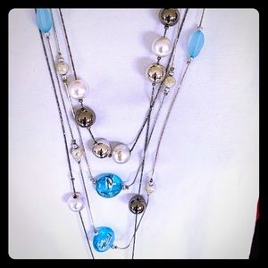 2 Long Knot necklaces silver gray balls blue glass